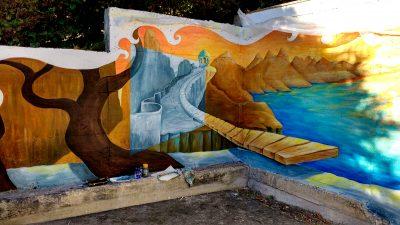 mural paisaje surrealista